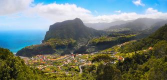 Beautiful Madeira Island. Mountains and blue Atlantic Ocean, landscape panorama. Portugal. Coastline, cliffs Stock Photo