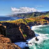 Beautiful Madeira Island. And blue Atlantic Ocean, landscape . Portugal. Coastline, cliffs Royalty Free Stock Photos