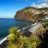 Beautiful Madeira Island. And blue Atlantic Ocean, landscape. Portugal. Coastline, cliffs Stock Photography
