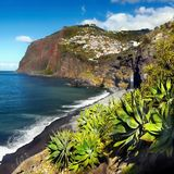 Beautiful Madeira Island. And blue Atlantic Ocean. Portugal. Coastline, cliffs Royalty Free Stock Image