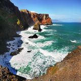 Beautiful Madeira Island. Mountains and blue Atlantic Ocean, landscape. Portugal. Coastline, cliffs Stock Photo