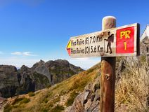 Madeira Island, Mountain Trail Sign. Beautiful Madeira island. Pico Ruivo - high mountains. Mountain trail sign, hiking. Portugal Stock Photo