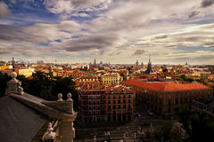 Beautiful Madrid city scene with cloudy sky Royalty Free Stock Image