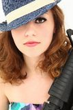 Beautiful  Mafia Girl Costume with Riffle Portrait Royalty Free Stock Photography