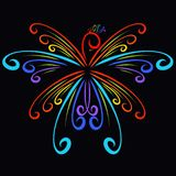 Beautiful magic bird of curls, colors of the rainbow royalty free illustration
