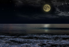 Free Beautiful Magic Blue Night Sky With Clouds And Full Moon  Stars  Reflexion In Water Stock Photos - 78522393