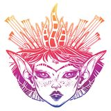 Beautiful magic girl with a forest crown. Young elf princess woman with long ears, unibrow and dark eyes. Alchemy, tattoo art, t-shirt design, coloring book stock illustration