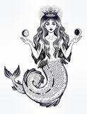 Beautiful magic mermaid queen with crown and moon. Hand drawn beautiful magic mermaid queen with long hair, crown and moon. Ocean siren in retro style. Sea royalty free illustration