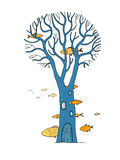 Beautiful magic tree and sea fish. Stock Images