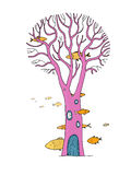 Beautiful magic tree and sea fish. Objects on white background. Vector illustration Stock Images