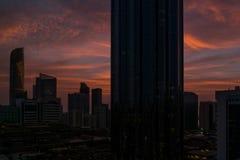 Beautiful magical red sunset in Abu Dhabi city, United Arab Emirates stock images