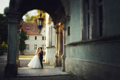 Beautiful magical young bride kissing handsome groom under castl Royalty Free Stock Photos