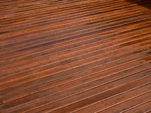 Beautiful mahogny hardwood deck floor Royalty Free Stock Images