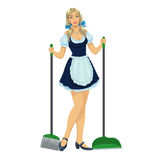 Beautiful maid cleaner Royalty Free Stock Images