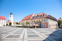 Beautiful main square in Sibiu, Romania Royalty Free Stock Photos