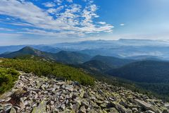 Beautiful majestic blue mountains and rocks. Carpathians Royalty Free Stock Images