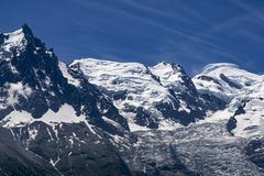 The beautiful majestic scenery of the Mont Blanc massif. French. Alps Royalty Free Stock Photos