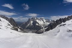 The beautiful majestic scenery of the Mont Blanc massif in June. Alps Stock Photography