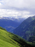 Beautiful majestic view from road trip in Europe. Mountain alp l. Andscape with forest royalty free stock photo