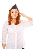Beautiful majorette in field cap Stock Photography