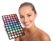 Beautiful make up artist eyeshadow colour palette Royalty Free Stock Photos