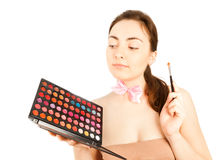 Beautiful make up artist with pallette Royalty Free Stock Photos