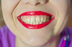 Beautiful make up of gloss lips Stock Image