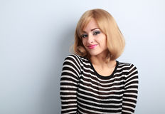Beautiful makeup blond smiling woman with short hair style in fa Royalty Free Stock Photos