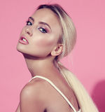 Beautiful makeup blond woman with clean perfect healthy face ski Stock Photo
