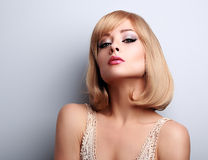 Beautiful makeup blonde woman with short hair style Royalty Free Stock Photos