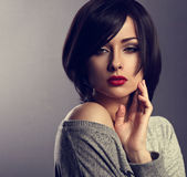 Beautiful makeup elegant woman with bob short hair style an Stock Images