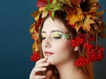 Beautiful makeup face art close up Stock Photos