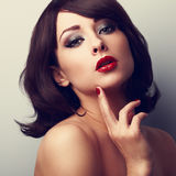 Beautiful makeup face of female model. Closeup color portrait Royalty Free Stock Photos