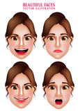 Beautiful Makeup Faces of Woman  Vector Character with Facial Expressions Royalty Free Stock Photos