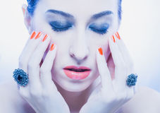 Beautiful makeup on the fashion model Royalty Free Stock Image