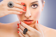 Beautiful makeup on the fashion model Stock Images