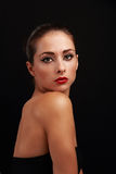 Beautiful makeup female model with red bright lips Royalty Free Stock Images