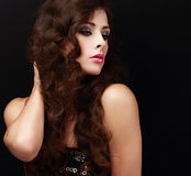 Beautiful makeup female profile looking Royalty Free Stock Images