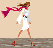 Beautiful makeup girl. Illustration of beautiful girl walking with a red scarf wrapped around her neck Royalty Free Stock Photography