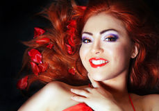 Beautiful Makeup and Healthy Hair Royalty Free Stock Images