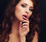 Beautiful makeup long hair woman Stock Photo