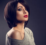 Beautiful makeup woman with short hair style with hot red l Stock Image