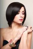Beautiful makeup short black hair woman Royalty Free Stock Image