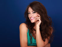 Beautiful makeup smiling woman with curly long brown hair with m Stock Image