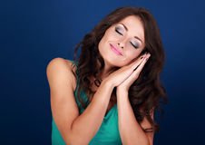 Beautiful makeup tired young woman want to sleep and she lying o Royalty Free Stock Images