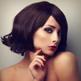 Beautiful makeup woman with black hairstyle and red lipstick Stock Photography
