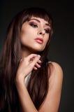 Beautiful makeup woman with brown long hair Royalty Free Stock Image