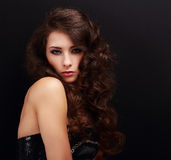 Beautiful makeup woman with curly hairstyle Stock Image