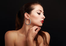 Beautiful makeup woman face profile Stock Image