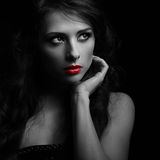 Beautiful makeup woman looking dramatic Royalty Free Stock Images
